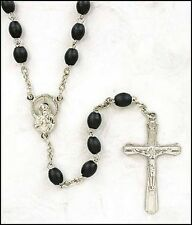 Black Wood Oval Rosary (MS302) NEW for Men, First Communion, RCIA, Confirmation
