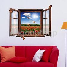 WINDOW FLOWERS BUTTERFLIES VIEW MURAL 3D WALL ART STICKER VINYL DECAL HOME DECO