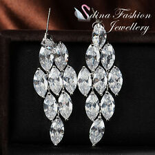 18K White Gold Plated Simulated Diamond Large Chandelier Bridal Wedding Earrings