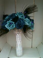 BLUE TEAL PURPLE ROSES PEACOCK FEATHERS CRYSTALS DIAMANTE BROOCH BRIDES BOUQUET