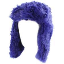 Ladies Winter Faux Fur Furry Trooper Trapper Pilot Ear Flap Hat Cap Royal Blue