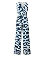 Nightingales Navy/Green Print Jersey Jumpsuit Size 16