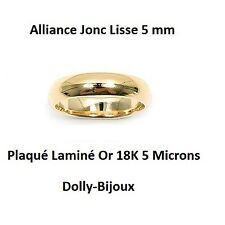 Alliance T58 Jonc Lisse 5 mm Plaqué Laminé Or 18K 5 Microns de Dolly-Bijoux