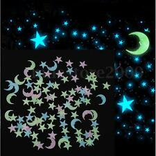 100pcs Stars 1 Moon 3D DIY Glow in the Dark Bedroom Wall Art Stickers Decor PVC