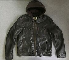 Levis Jacket Faux Leather Motorcycle Bomber Hooded Gill Apparel Brown Medium EUC