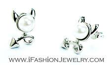 Rock Punk Silver Tone Devil Horn Cat Arrow Pearl Stud Earrings Fashion Jewelry