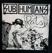 SUBHUMANS RATS PUNK BLACK CANVAS BACK PATCH