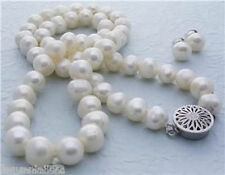 Genuine Natural 7-8mm White Freshwater Cultured Pearl Necklace 18''& Earring Set