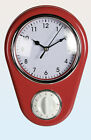 NEW RETRO STYLE KITCHEN WALL CLOCK WITH TIMER RED OUT OF THE BLUE
