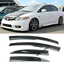 For 06-11 Civic JDM SI Window Rain Visor MUGEN 2 Style Guard Deflector Sedan 4Dr