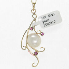 14k Solid Yellow Gold Natural Rubies; Baroque White Pearl Unique Design Pendant