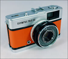 OLYMPUS TRIP 35 - SERVICED - RECOVERED IN ORANGE LEATHER - FILM PHOTOGRAPHY