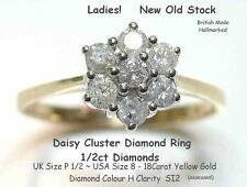 18ct Yellow Gold .50ct Diamond Daisy Cluster Ring UK P Quality New Old Stock!