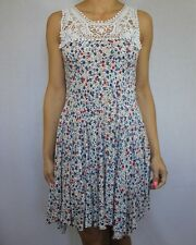 RIVER ISLAND ivory white ditsy floral print skater dress crochet trim size 10