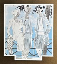 Annie Offterdinger Modezeichnung Fashion Illustration 30x42 20er Art Deco Dress