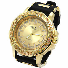 Men Gold Cut Bezel Gold Face Hip Hop Fashion Black Silicone Quartz Wrist  Watch