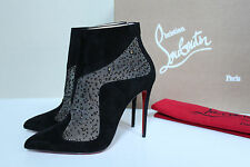 New sz 6 / 36.5 Christian Louboutin Papillo Black Suede Pointed Toe Bootie Shoes
