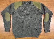 WOOLOVERS MENS CREWNECK WOOL SWEATER L HUNTING JUMPER CHUNKY GRAY VGC