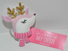 BATH & BODY WORKS PINK WHITE REINDEER SHOWER SPONGE LOOFAH HOLDER HOOK HANGER