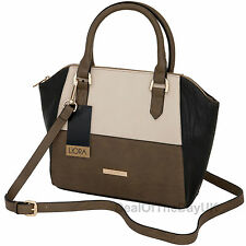 Liora Handbag Designer Faux Leather Bag Shoulder Black Beige Retro Vintage PU