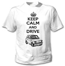 MALUCH POLISH FIAT 126 P KEEP CALM AND DRIVE P - WHITE COTTON TSHIRT