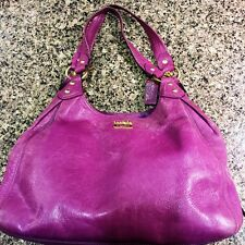 COACH MADISON MAGGIE LEATHER SATCHEL BAG HOBO TOTE PURSE PLUM