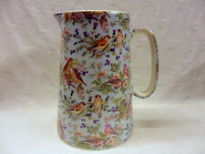 British birds on blue design 4 pint pitcher jug by Heron Cross Pottery