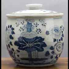"Chinese oriental porcelain GINGER JAR 12"" FLORAL blue & white"