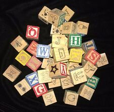 LARGE LOT wooden blocks pictures ALPHABET LETTERS boys girls toys play time fun