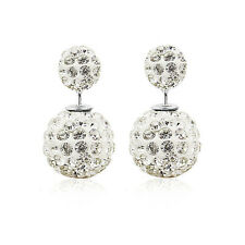 Luxury Women Lady Double Sided Crystal Rhinestone Big Beads Earrings Ear Studs