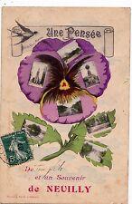 NEULLY-SUR-SEINE une pensée et un souvenir de multivues timbrée 1907