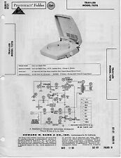 1960 TRAV-LER 7078 RECORD PLAYER PHONOGRAPH SERVICE MANUAL PHOTOFACT SCHEMATIC
