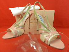 NIB PRADA TRI COLOR BLOCK PATENT LEATHER CUTOUT FLAME SANDALS PUMPS 38 7.5