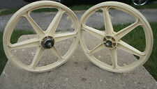 "Skyway 6-Spoke Mag Wheels OLD SCHOOL BMX  20"" HARO GT O.E. Freestyle White VGUC"