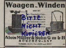 MÜNCHEN, Werbung 1936, Alois Müller & Sohn GmbH Waagen-Winden für Eisenbahn Land