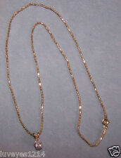 Vintage? Ross Simons 10k Yellow Gold 1ct pear cut CZ Pendant Necklace