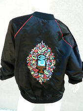 Satin Bomber Jacket Floral Print Black w Red Piping Monogram Rocco Size L