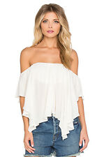 139830 New Free People Merpati High Low Off Shoulder Ivory Semi Crop Top XS