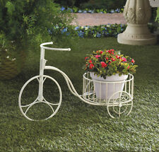 White Metal Tricycle Style Plant Stand Planter Box Yard Garden Patio CLEARANCE