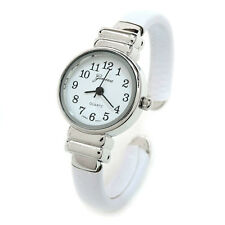 White Silver Snake Style Band Small Case Geneva Women's Bangle Watch