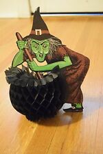 RARE Vintage Beistle Halloween Witch w/Cauldron Honeycomb Paper Decoration