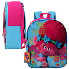 "15"" Backpack TROLLS Poppy Floral Kids Girls School Pink BookBag Bag Dreamworks"