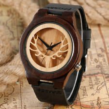 Casual Elk Analog Deer Head Nature Wood Bamboo Genuine Leather Band Wrist Watch
