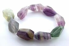8 Inch Strand Natural Freeform Faceted Fluorite Nine Beads fb11