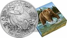 2014 Canada 1Oz Fine Silver Coin The Grizzly Bear Wild in Motion Face Value $100