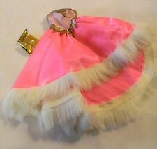 BARBIE DOLL SIZE BRIGHT PINK GOWN FAKE FURE TRIM PURSE & SHOES