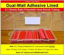 Dual-Wall 3:1 Adhesive Lined RED Heat Shrink Tubing 3/4 1/2 3/8 1/4 3/16 1/8