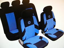 HONDA HYUNDAI Universal Car Seat Covers Full Set Blue/Black Velour Fabric 14401