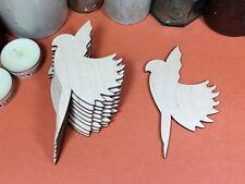 De Madera Loro Flying formas 12 Cm (X10) Madera Recortes Artesanía En Blanco Forma