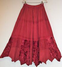 NEW Red Rayon Embroidery Lace Patch Sequins Velvet Asymmetrical Hem Skirt Nepal